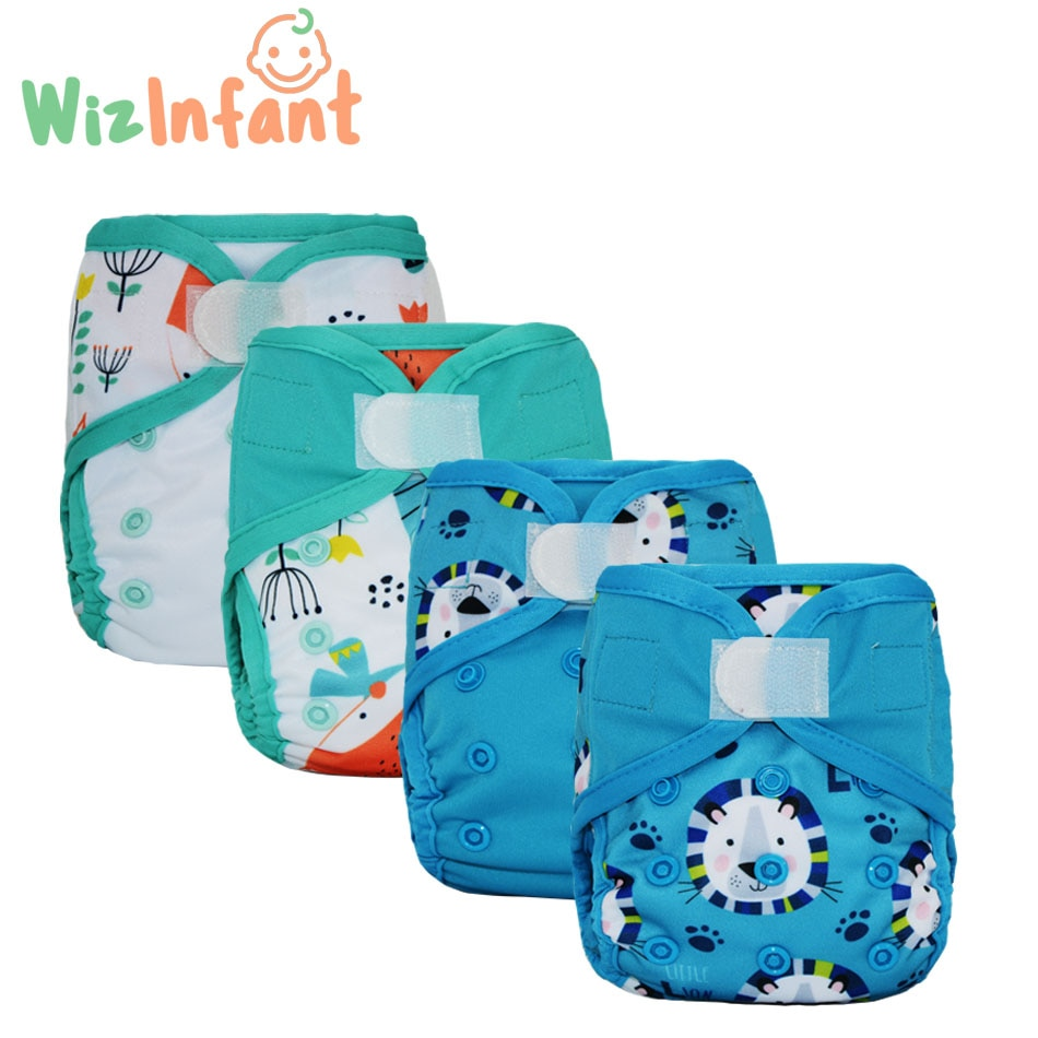 WizInfant 4PCS/lot  Newborn Diaper Cover for NB Baby,Waterproof ,ECO-friendly,Double Leaking Guards, Waterproof And Breathable