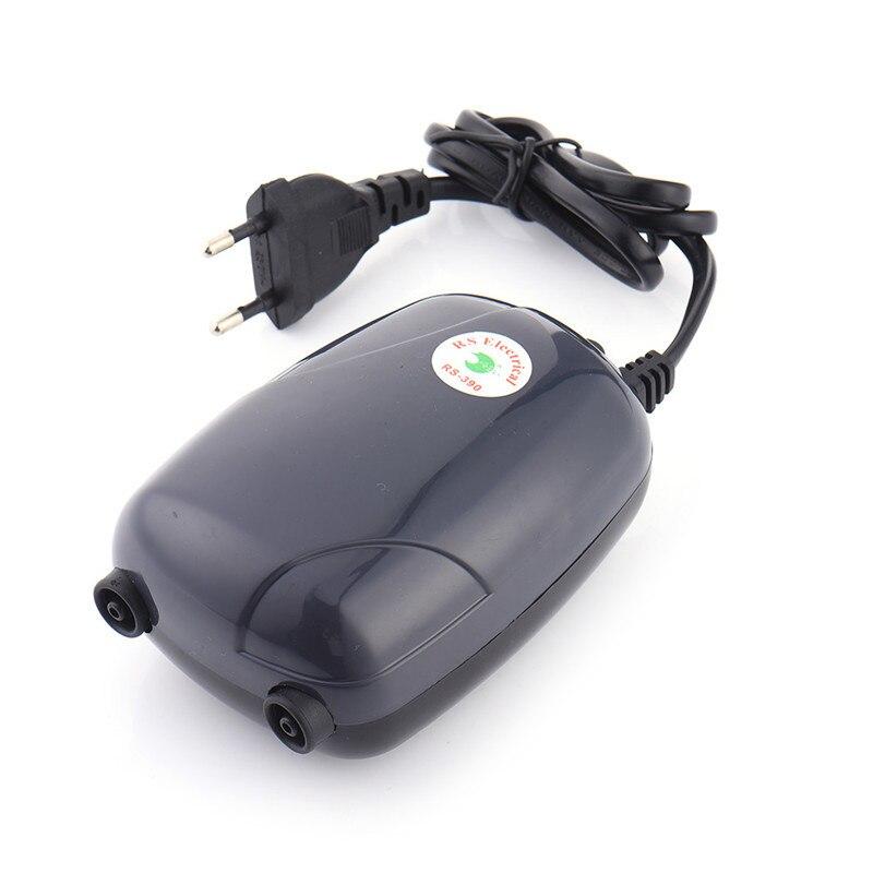 Bomba de aire para acuario con enchufe europeo, Mini compresor silencioso, bomba de oxígeno de doble salida, accesorios acuáticos para acuarios de 220V