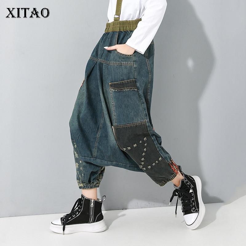 XITAO Strapless Pleated Jeans Fashion New 2020 Sprint Pocket Loose Elastic Waist Full Length Pants Elegant Minority XJ2983