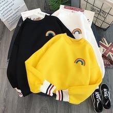 Moda bordado de arcoíris fleece Hoodies mujeres Kawaii Coreano sudaderas Usagi 90s estética de gran tamaño hoodie girl Streetwear