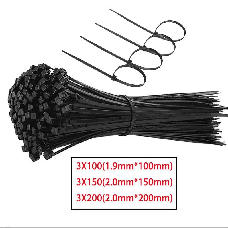 Nylon noir autobloquant en plastique cravate attacher fermeture à glissière fil sangle Nylon anneau de fixation câble 100 pcs/Lot 3X100 3X150 3X200 plastique