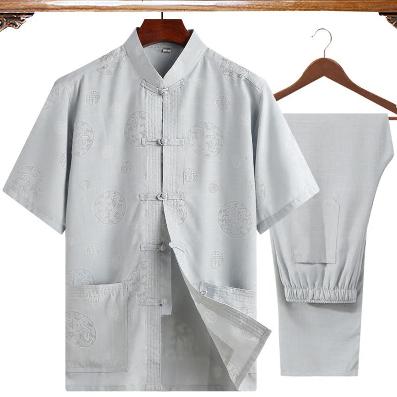 Nuevo (camisa de manga corta + pantalón) 2 unids/set talla grande 4XL hombres Tai Chi Kung Fu traje l gris ClassicWu Shu ropa para padre