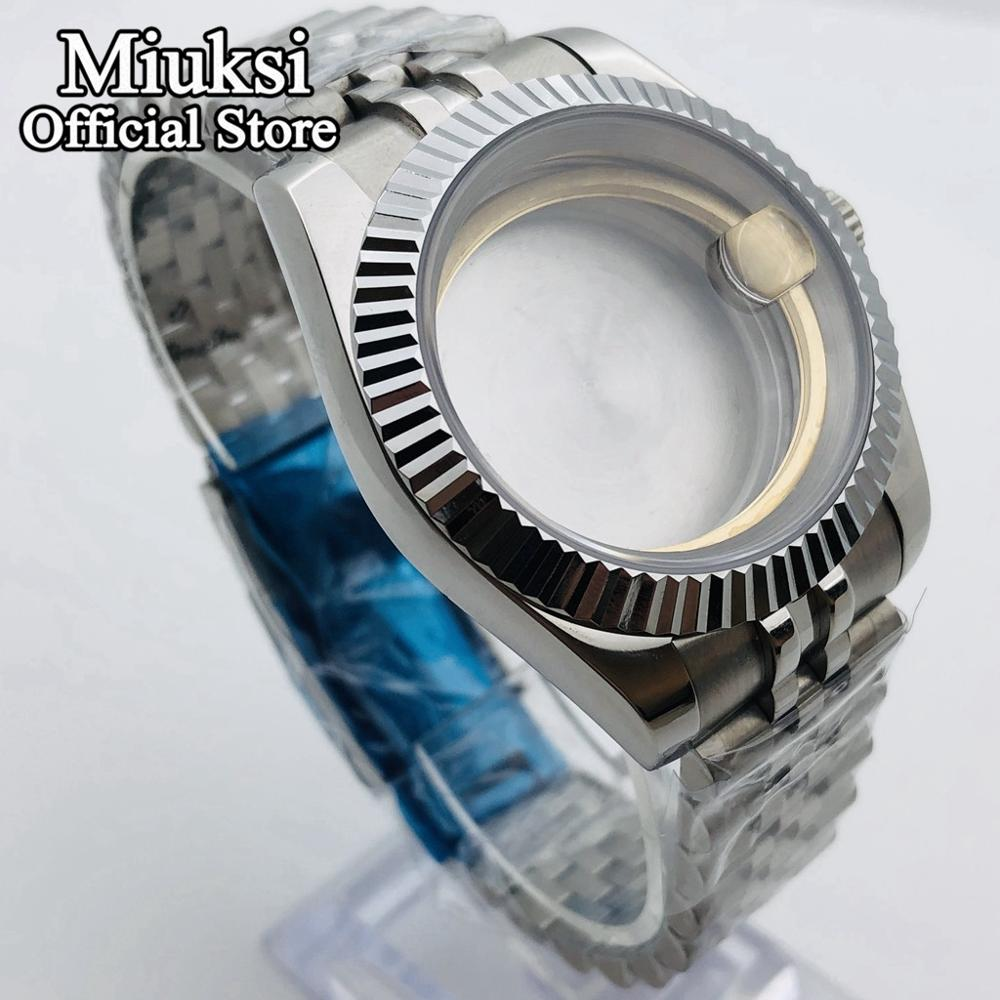 Miuksi 40mm silver case sapphire glass jubilee bracelet fit NH35 NH36 ETA2836 Miyota8205 8215 821A Mingzhu DG 2813 3804 movement enlarge