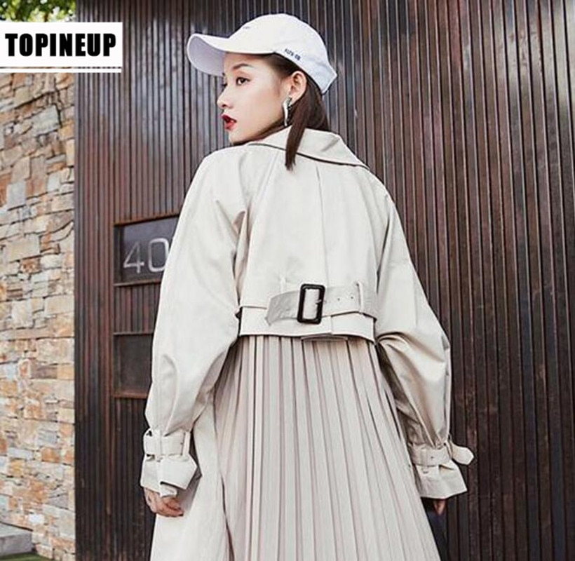 Gabardina de manga larga estilo japonés para Mujer, abrigos largos, rompevientos plisados,...