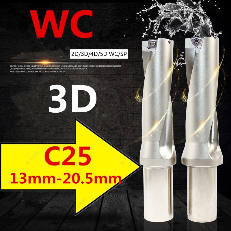 Wc c25 3d 13 14 15 16 17 18 19 20 mm insert indexável brocas u tipo de broca rápida torno cnc metal furo raso perfuração
