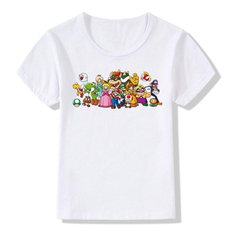 Junge und Mädchen DIE Super mario Mode T-shirt Kinder Kurzen ärmeln super mario bros Spiel T Shirt Tops T Baby kleidung, ZKP710A