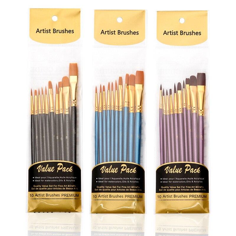 Нейлоновые кисти, 3 цвета, профессиональные канцелярские принадлежности, разноцветные кисти с акриловыми деревянными ручками, каждая короб...