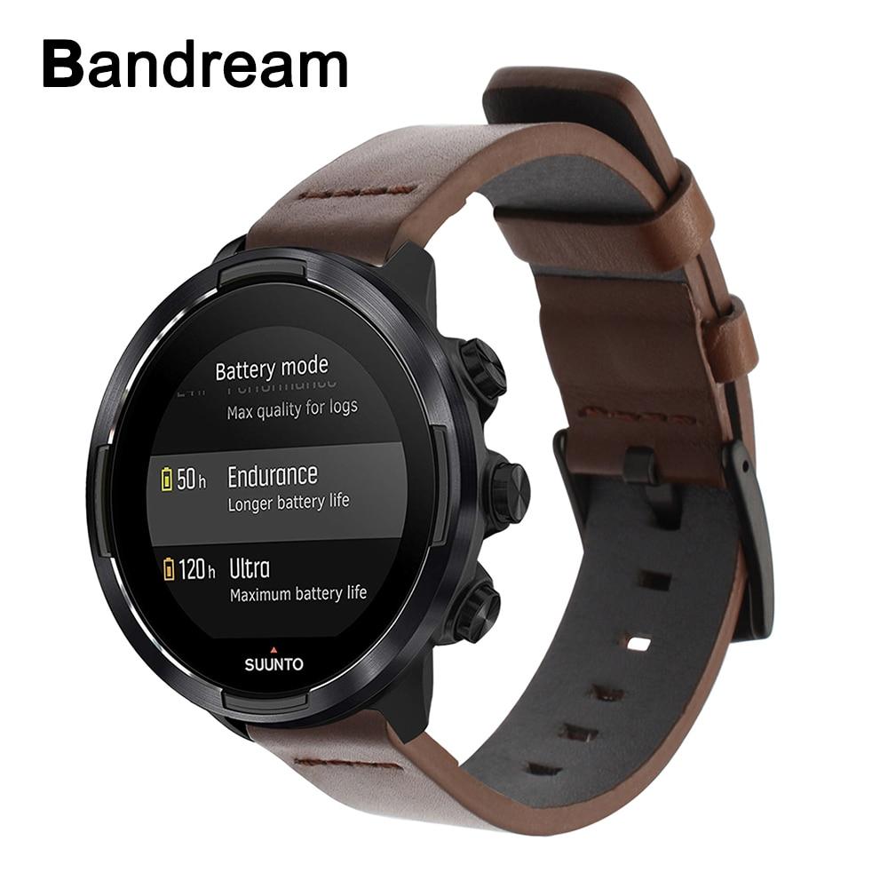 Genuine Calf Leather Watchband for Suunto 9/ Ambit 3 Vertical / Spartan Sport Wrist HR Quick Release Strap Watch Band Wristband