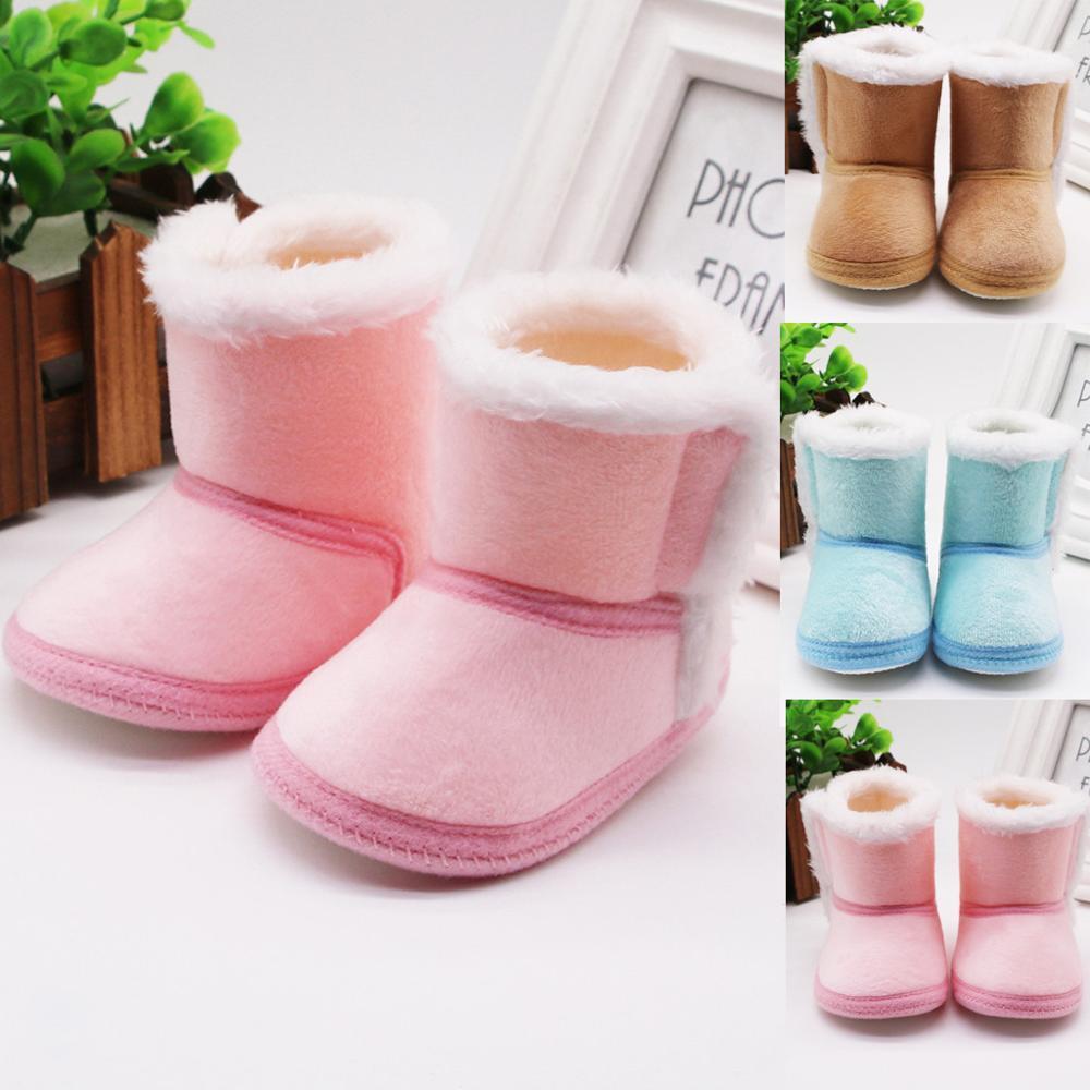 2020 Newborn Baby Girls shoe Cashmere Plush Winter Boots Bandage Warmer Shoes Sapato bota infantil kids shoe Plus velvet Infant