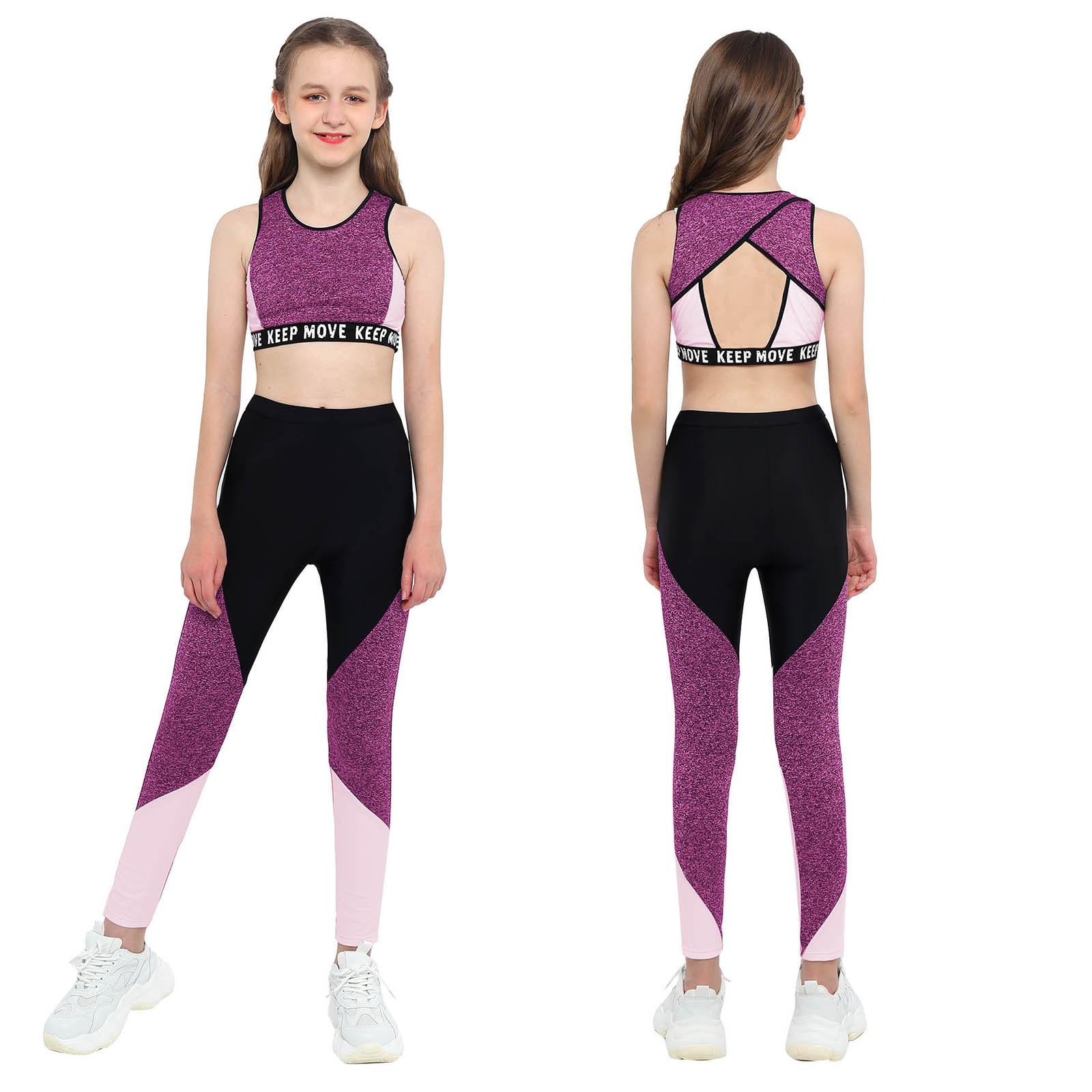 Детские танцевальные майки для девочек, комплект из бюстгальтера и леггинсов для бега, бега, тренировок, гимнастики