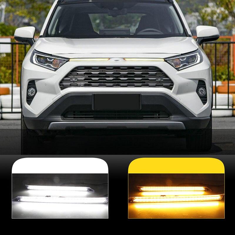 LED Turn Signal Function Car Daytime Running Light Automobile Cover Decoration Light For Toyota RAV4 2019 2020