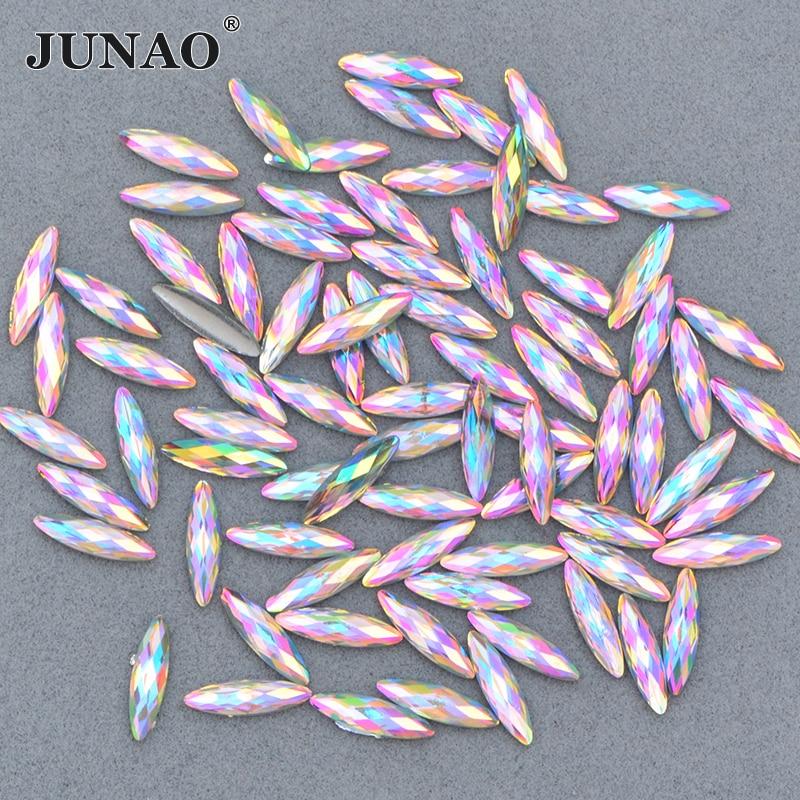 JUNAO 4*15mm Crystal AB Horse Eye Rhinestone Sticker Flat Back Strass Crystal Resin Stones Applique Face Nail Art Decoration
