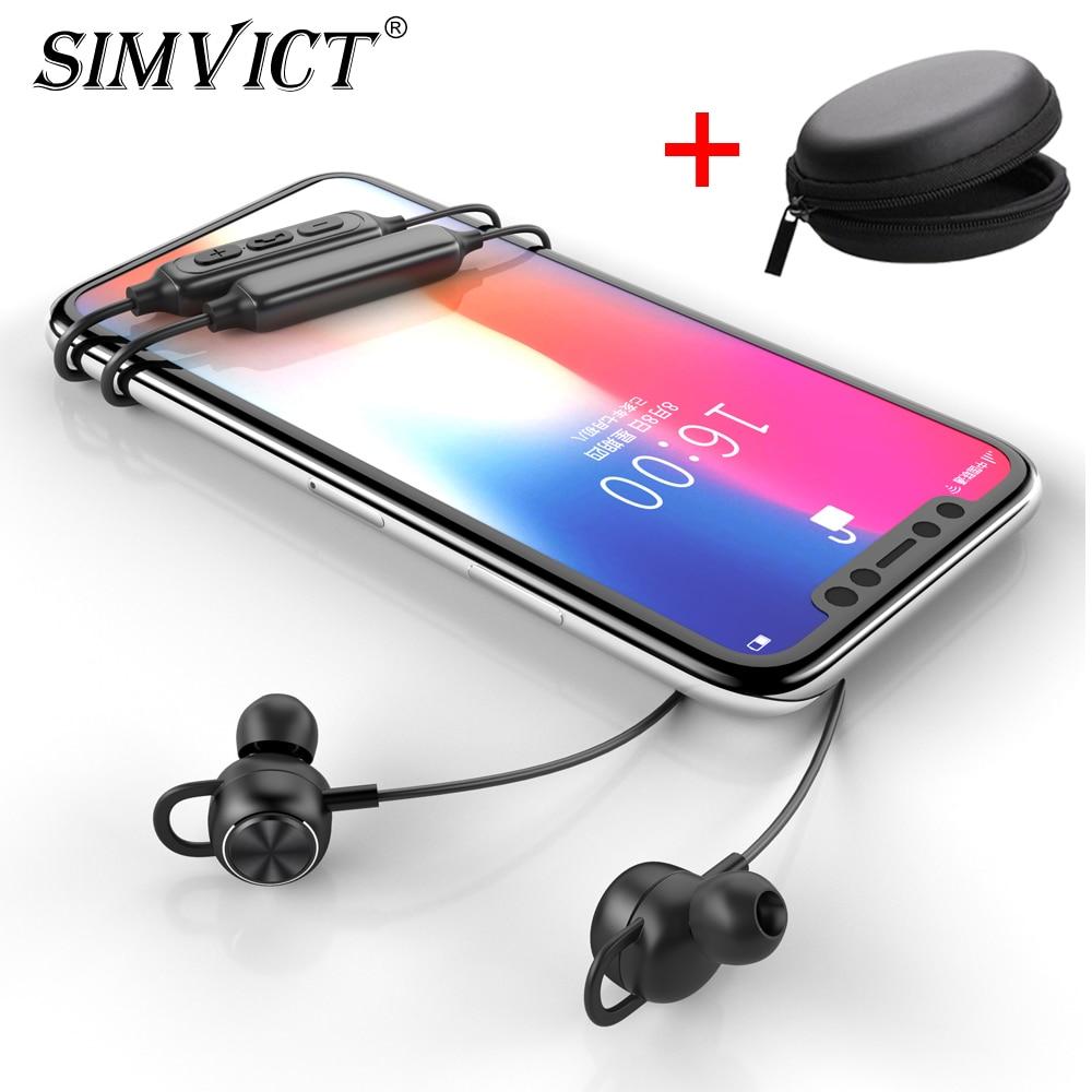 Auriculares inalámbricos Simvict G2 con Bluetooth, auriculares inalámbricos con banda para el cuello, Auriculares deportivos con micrófono de Metal para teléfono iPhone Xiaomi