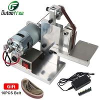 Mini Electric Belt Sander Machine Multifunctional Electric Angle Grinder Sanding Polishing Machine Desktop With 10PCS Sandbelt