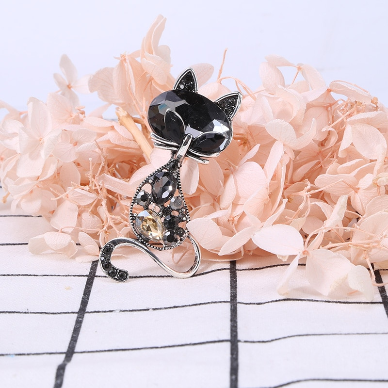 Beadsland aleación con incrustaciones de diamantes de imitación broche gatito modelado de moda de alta gama Ropa Accesorios Pin mujer regalo MM-987