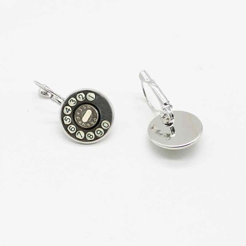 2019 nueva moda retro dial teléfono hecho a mano cristal pendientes joyería