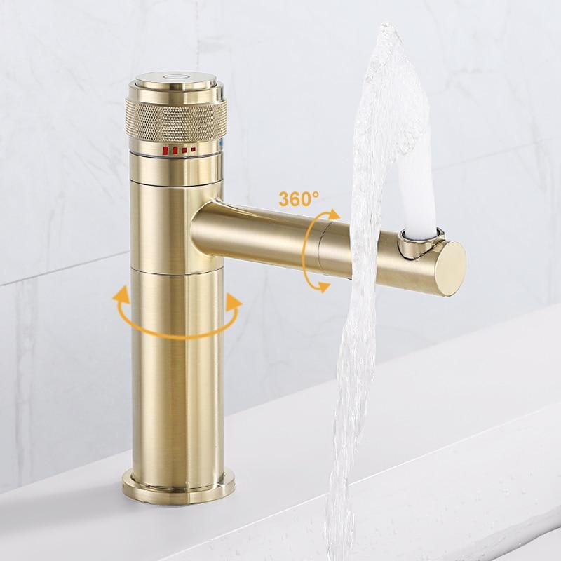حنفية حوض المغسلة باللون الأسود كروم والذهبي رافعة واحدة صنبور مياه باردة وساخنة للتثبيت على السطح خلاطات حمام نحاسية حنفية ذات فتحة واحدة