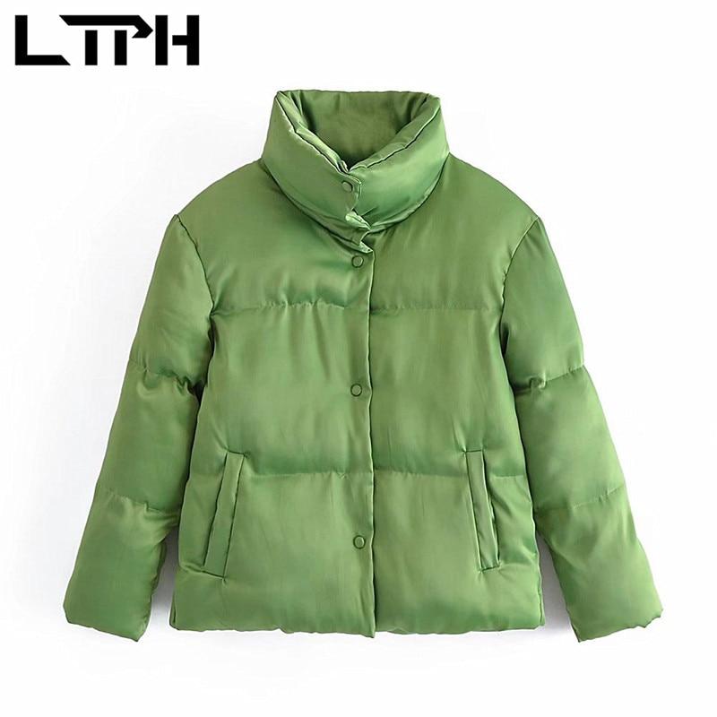 LTPH ins, зеленые парки, Женское пальто, простая однобортная теплая зимняя куртка с воротником-стойкой, свободная повседневная верхняя одежда, ...