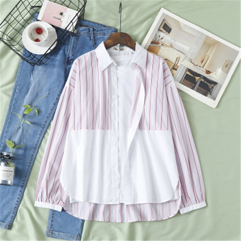 Фото - Contrast Color Stitching Striped Shirt Women Spring Autumn  Pocket Casual Loose Student Wild Shirts Female Street Tops mark wild street meeting