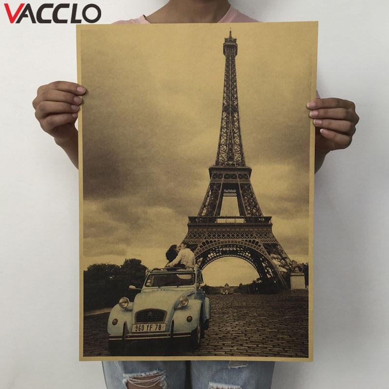 Vacclo Creative Beer Wine Bar Counter Retro Poster Vintage Kraft Paper Antique Decals Eiffel Tower DIY Kitchen Wall Stickers
