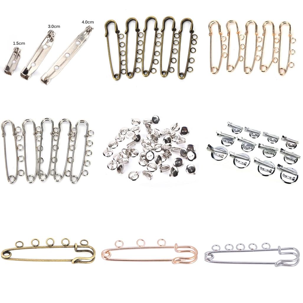 10 Uds 5 agujeros de plata de oro de base para broches conclusiones agujas para DIY y broches para la fabricación de la joyería Fit bebé regalos bricolaje