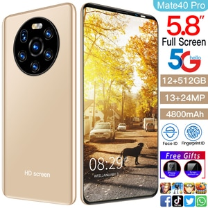 """Global Version Mate40 Pro 12+512GB Smartphone HD Full Screen 5.8"""" Android 10 4800mAh 13+24MP Support FaceID 5G Network Cellphone"""