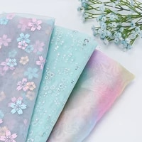 colorful sequin floral organza headdress clothing sewing material holiday party decoration fabric by the meter 90150cm 1pc