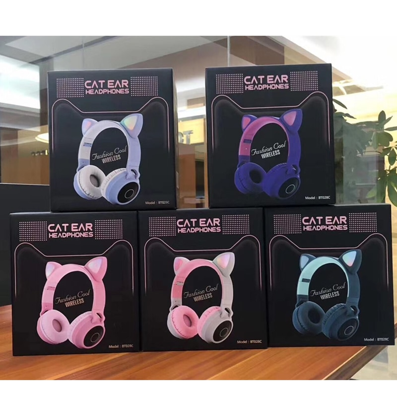 New Arrival LED Cat Ear Noise Cancelling Headphones Bluetooth 5.0 Young People Kids Headset Support TF Card 3.5mm Plug With Mic enlarge
