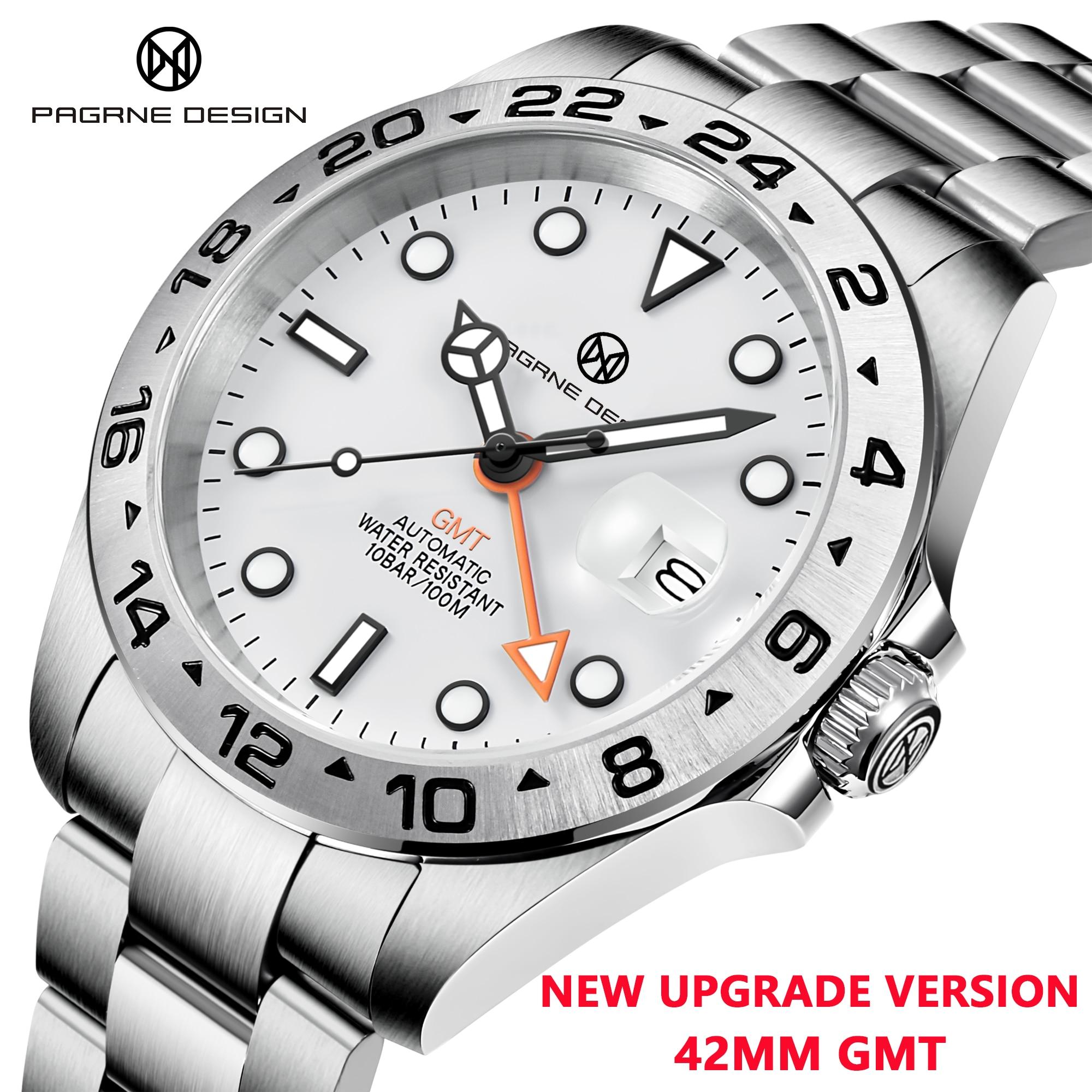 2021 PAGRNE تصميم جديد للرجال ساعة ميكانيكية أوتوماتيكية GMT Pagani ساعة الياقوت الفولاذ المقاوم للصدأ مقاوم للماء ساعة Reloj Hombre