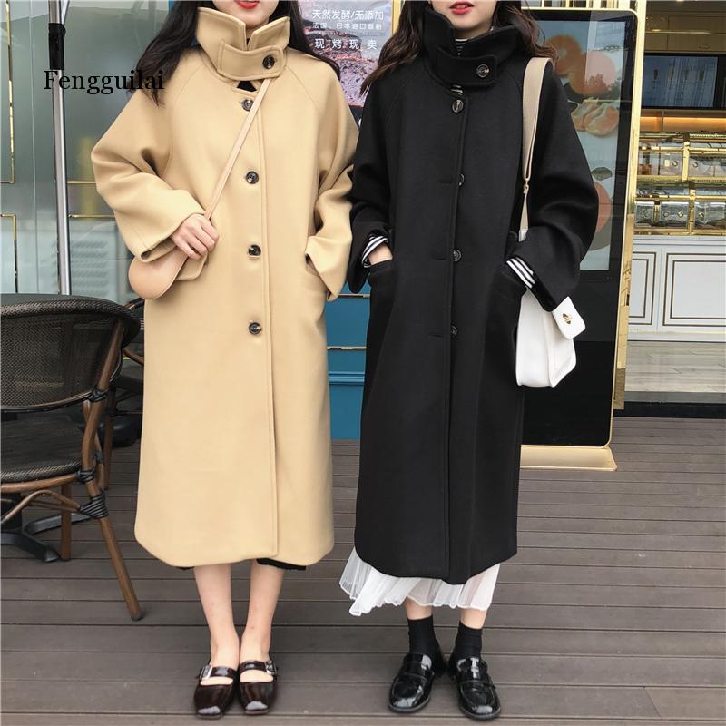 Abrigo de lana largo y grueso para Mujer, abrigo de invierno con...