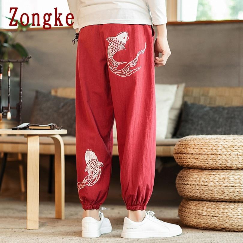 Zongke Carp Embroidery Harem Pants Men Joggers Men's Pants Korean Streetwear Men's Casual Pants Hip Hop M-5XL 2021