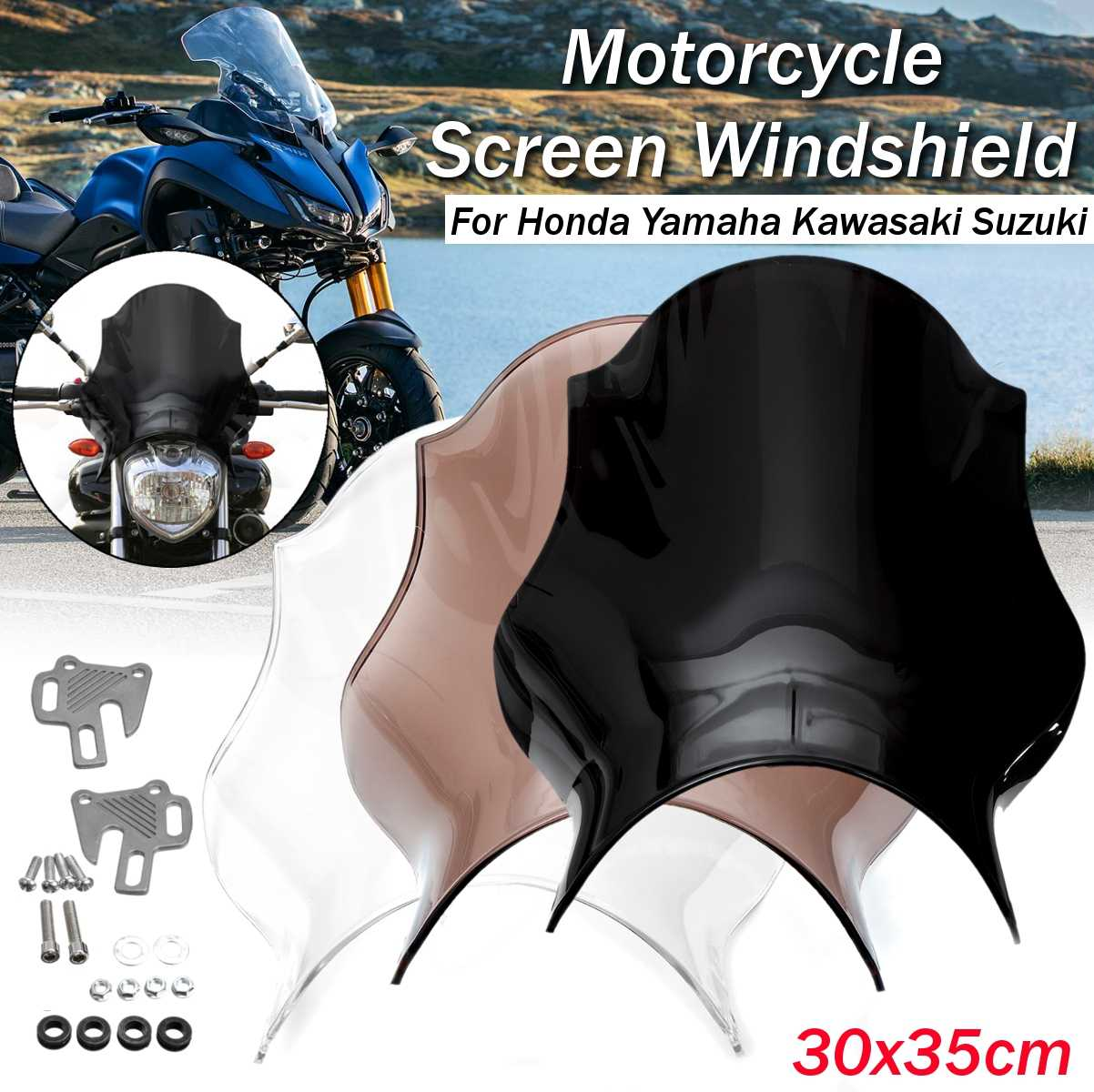Abs universal motocicleta frente windshield windscreen para honda/yamaha/kawasaki/suzuki defletor transparente preto