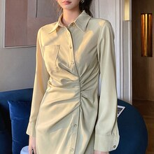 Woman Midi Shirt Dress 2021 Fashion Vintage Green Bodycon Sexy Slit Midi Ruched Dresses For Women Pa