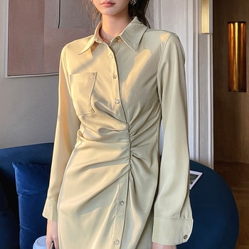 Woman Midi Shirt Dress 2021 Fashion Vintage Green Bodycon Sexy Slit Midi Ruched Dresses For Women Party Club Clothes