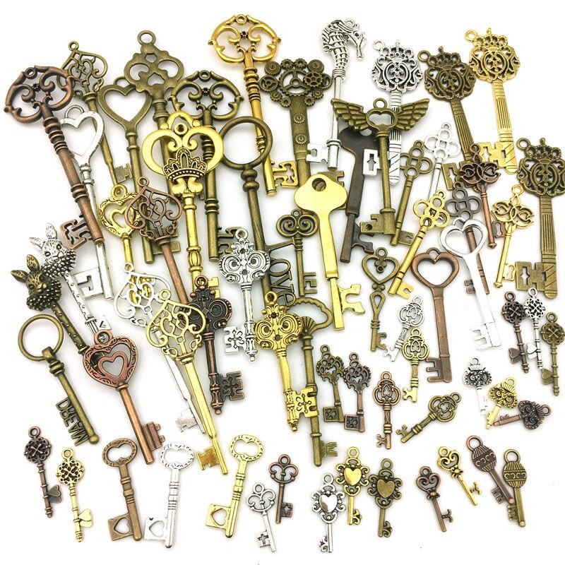 20 piezas Steampunk llaves mixtas encantos Vintage bronce Metal aleación de Zinc para la moda fina mezcla colgante encantador fabricación
