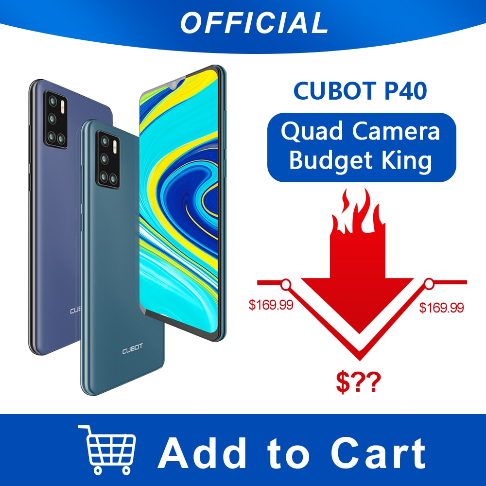 Cubot P40 Rear Quad Camera 20mp Selfie Smartphone Nfc 4gb 128gb 6 2 Inch 4200mah Android 10 Dual Sim Card Mobile Phone 4g Lte Z O Z