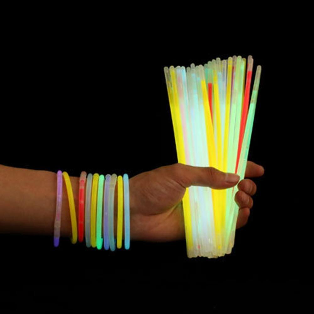 Красочные светящиеся палочки, светящиеся прочные палочки вечерние, светящиеся палочки, светящиеся палочки, браслеты, 100 шт.