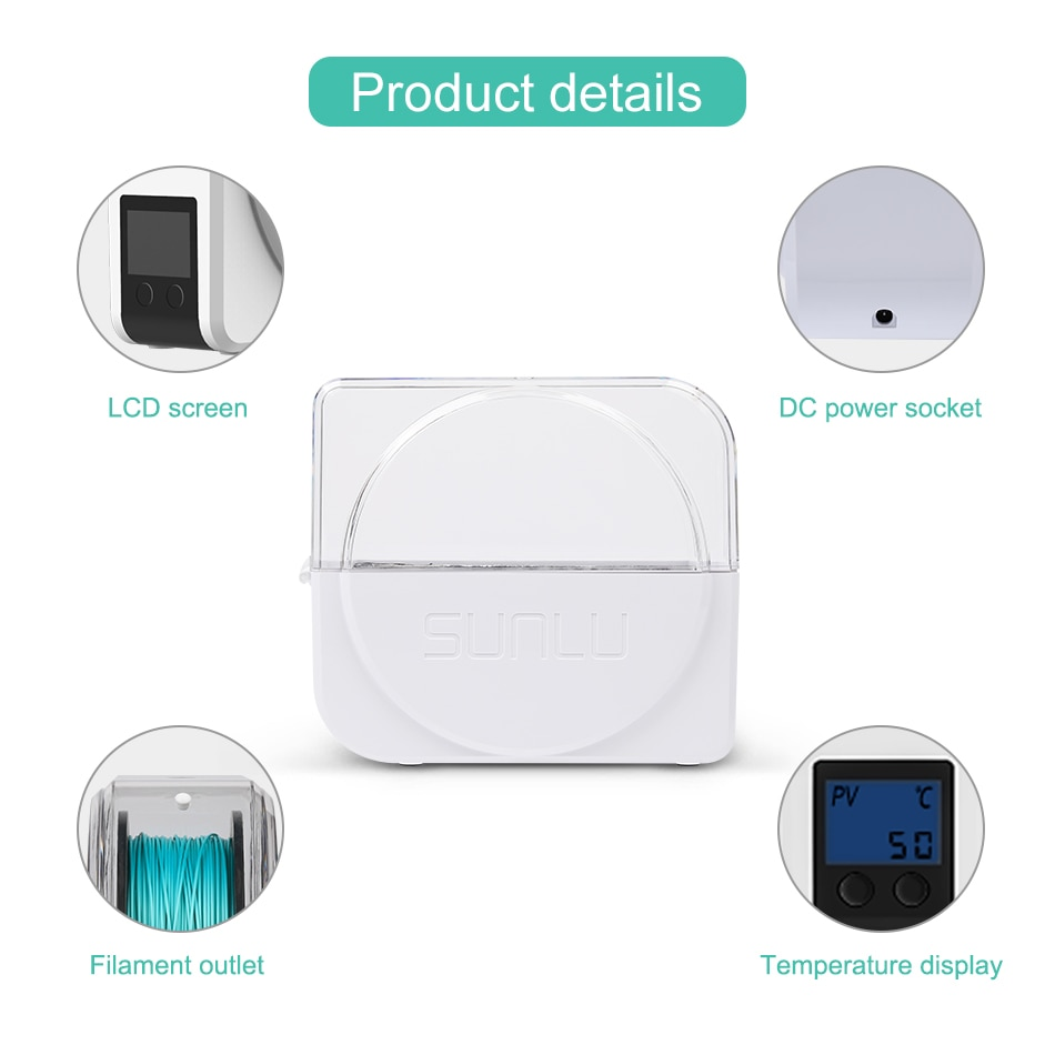 SUNLU 3D Filament Dryer Box Drying Filaments Storage Box Keeping Filament Dry Holder Free 3D Printer Printing Mate FilaDryer S1