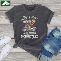 womens biker cotton t shirt girl just a girl who loves tattoos and motorcycles harajuku women shirt kawaii fashion tee tops