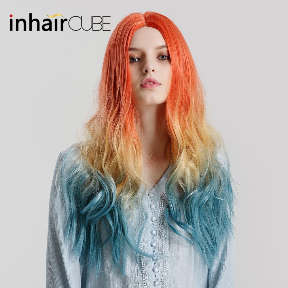 Inhaircube Ombre długie faliste pomarańczowy blond niebieski Cosplay Lolita peruki z grzywką dla kobiet naturalne syntetyczne sztuczne włosy prawdziwe linii włosów