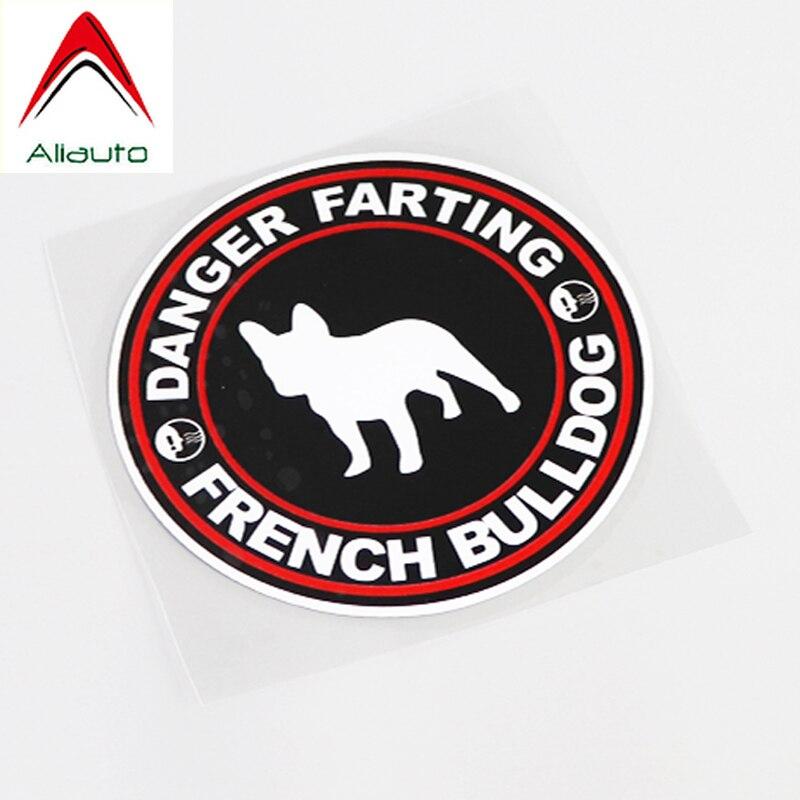 Aliauto pegatina de advertencia para coche Danger Farting Bulldog francés protector solar impermeable etiqueta reflectante PVC decoración, 11cm * 11cm