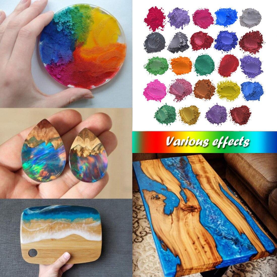 Resina epoxi metálico 24 colores X5g jabón conjunto de colores Color pigmento de Mica para polvo de bricolaje de alta calidad colorantes fabricación artesanal de jabón