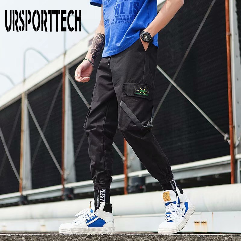 Мужские спортивные штаны URSPORTTECH, весенние черные штаны-шаровары с несколькими карманами и лентами, мужские спортивные штаны, уличная одежда...