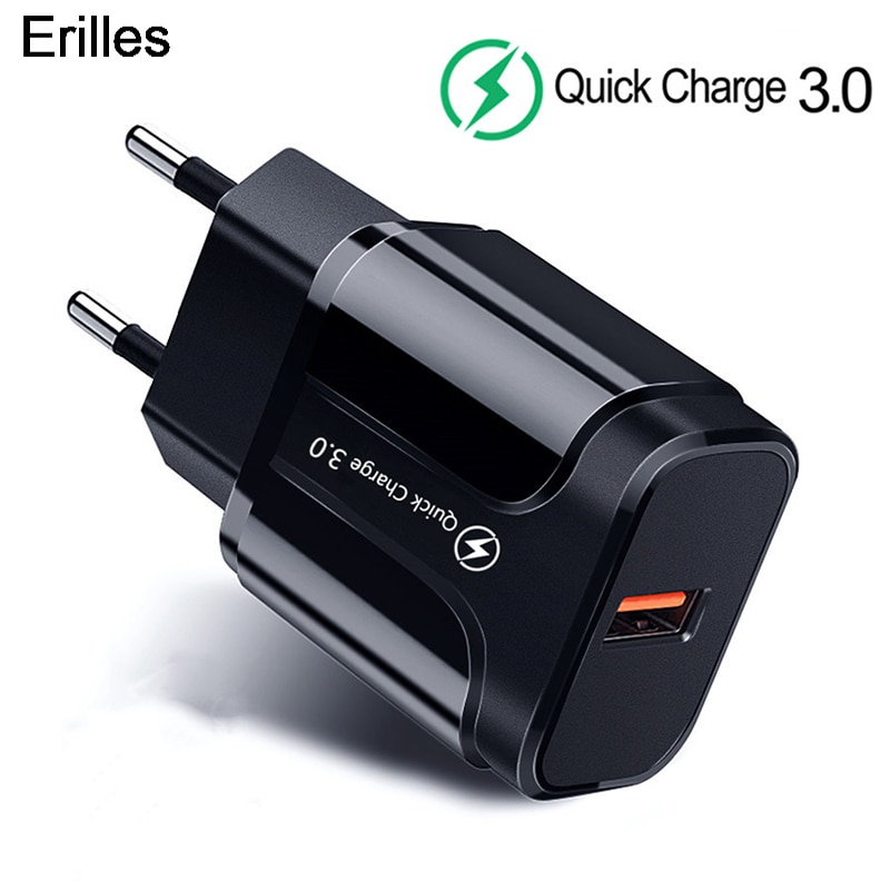 3A Quick Charge 3.0 USB Charger For iPhone 11 Pro 8 EU Wall Mobile Phone Charger Adapter QC3.0 Fast
