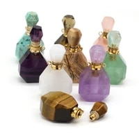 fine natural stone perfume bottle necklace pendants amethysts quartz crystal vials for jewelry making diy women necklace gifts