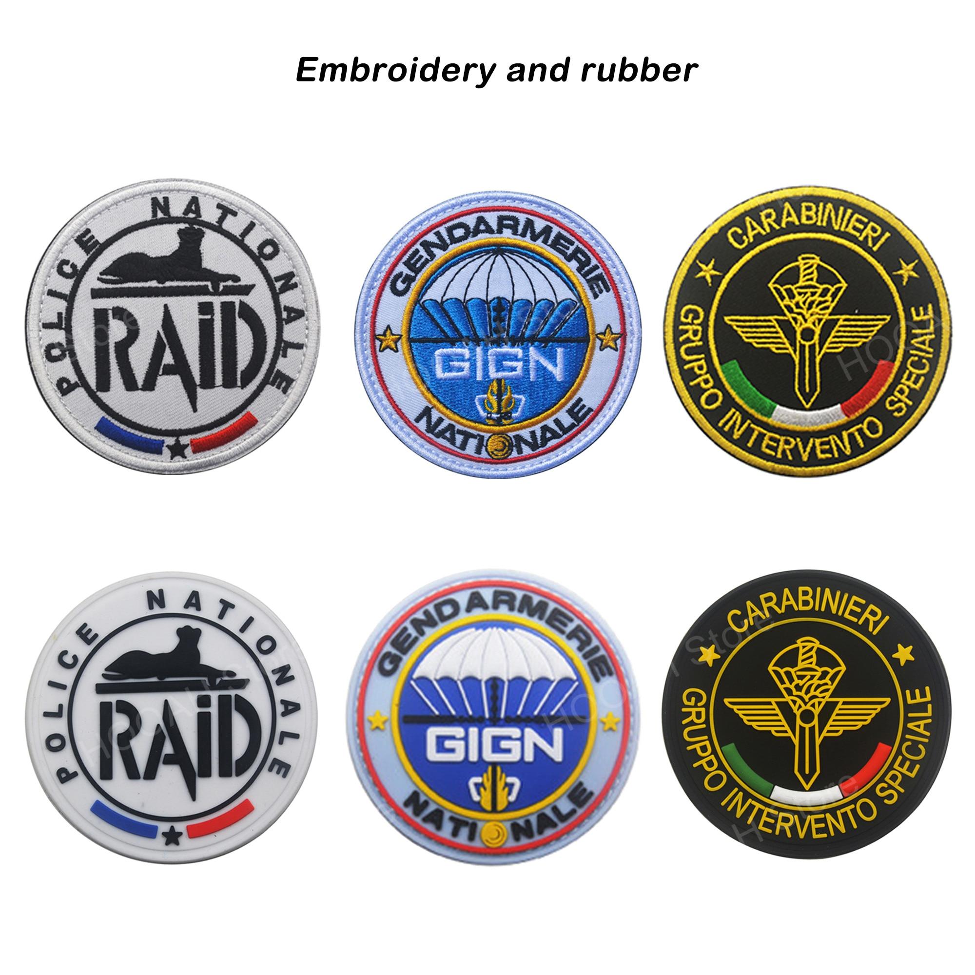 Parche bordado italiano de Italia, parche bordado francés, parches militares, parche táctico de escudo de combate, insignia bordada de goma de PVC