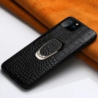 original cowhide leather case for iphone 11pro 11 pro max x xs max xr 6s 7 8 se 2020 crocodile style magnetic ring holder cover