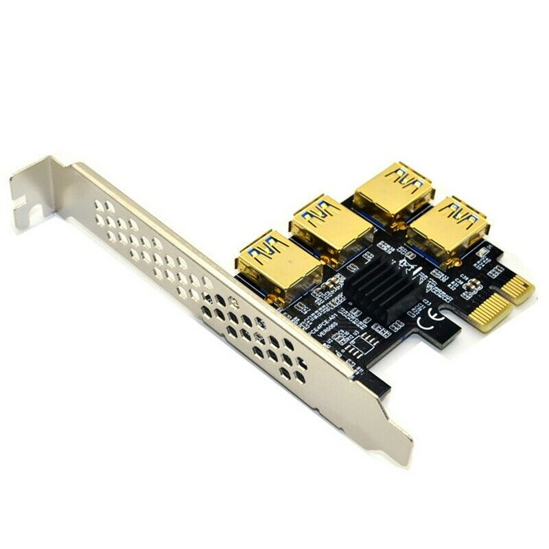 Hot PCIE PCI-E PCI Express Riser Card 1x to 16x 1 to 4 USB 3.0 Slot Multiplier Hub Adapter For Bitcoin Mining Miner BTC Devices