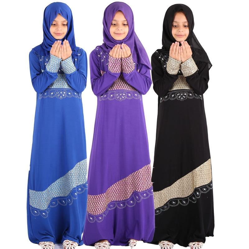 عيد مبارك الاطفال الفتيات عباية تركيا الحجاب 2 قطعة فستان مسلم قفطان دبي قفطان عبايات رمضان Elbise الملابس الإسلامية هدية