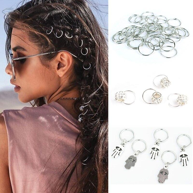 5-8PCS Metal African Hair Rings Beads Cuffs Tubes Charms Dreadlock Dread Hair Braids Jewelry Hair Br